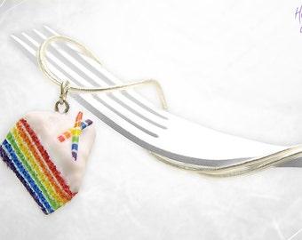 Rainbow Cake Necklace, Mini Food Jewelry, Foodie gift, Cake Jewelry, Rainbow Pendant, Gift under 30, Birthday gift, Rainbow Charm Cake