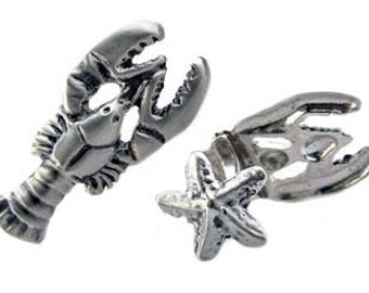 Lobster Cuff Links. Sterling silver antiqued satin lobster cufflinks are paired with starfish cuff link backs. Super conversation pieces!