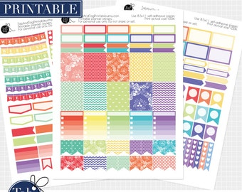 SALE RAINBOW printable planner stickers for Erin Condren LIFEPLANNER™. Three pack. Weekend banner, flags, dewdrops, dots, full boxes.
