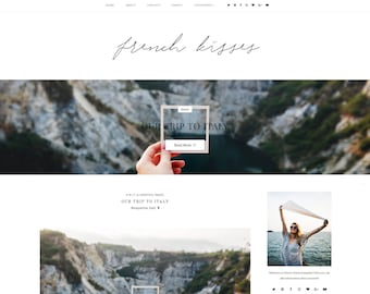 NEW - French kisses - Premade Blogger Template - Responsive Blogger Template - Feminine Blogger Template - Minimalist Template