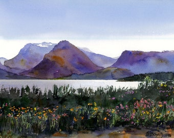 Watercolor landscape print, Grand Tetons watercolor, Jackson lake painting, wildflowers landscape, 10 x 15 inches, blues, greens