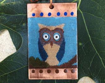 Copper Pendant - Oliver Owl