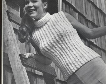 Vintage Pullover Mock T with Cables - PDF