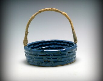 Half Price SALE Handmade Blue Ceramic Basket with handmade Reed and Cane Handle/Ceramics and Pottery