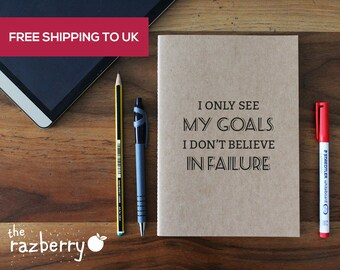 Notepad with Song Lyrics Book I only see my goals I don't believe in failure A5 Blank Kraft Notebook Vintage Notebook College Blank Book Art