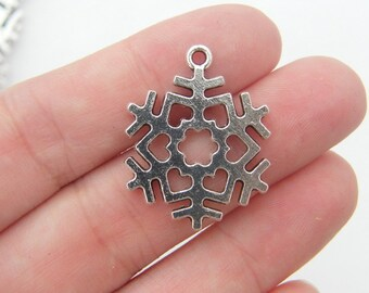 4 Snowflake Christmas charms antique silver tone SF4