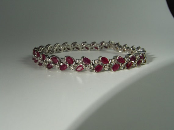 sterling red fb p silver art style gemstones deco bracelet filigree natural r ruby