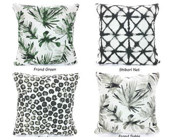 Green Black Designer Pillow Covers Palm Leaf Pillows Green Tan Black Basketweave Cushions Heavy Weight Flax Sofa Bed Pillow Various Sizes