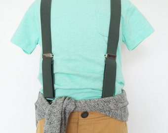 Grey Elastic Suspenders