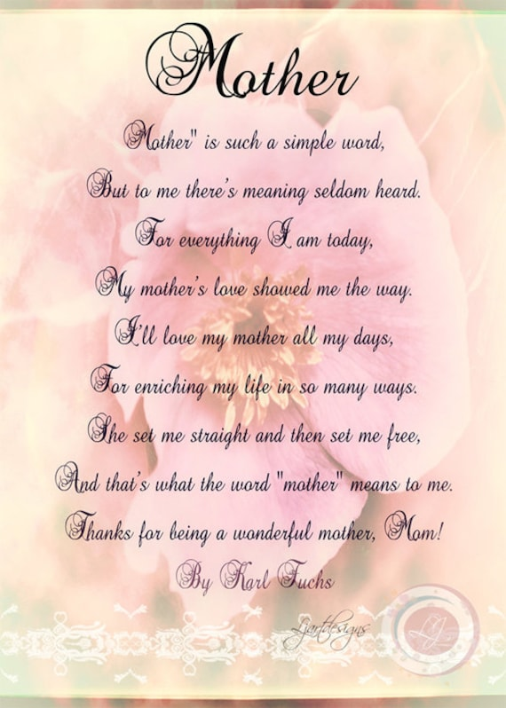 Well-liked Items similar to Digital Mother's Day Card with Poem, Birthday  VD28