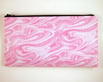 Pink Swirl Pencil Case, Pencil Pouch, Zipper Pouch, Make Up Bag, Gadget Bag