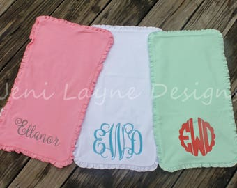 Monogrammed Burp Cloths- set of 3   Monogrammed Burp Cloths with Ruffles, Baby girl Burp Cloths, Monogrammed Baby Gift
