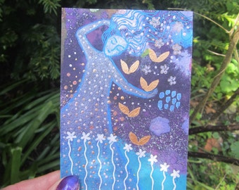 Night Dreaming, original painting 3.5 x 5ins. flowers, sparkles, wall art