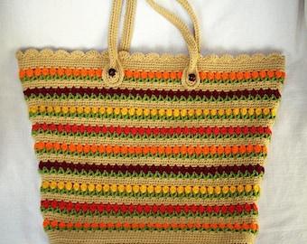 Colorful hand crochet bag, Hand Crochet Purse, Summer Bag, Beach Bag, Large Crochet Bag,