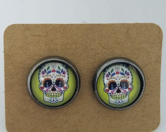 Light Green Sugar Skull Earrings with Candle Eyes