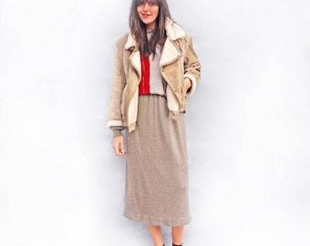 Sheepskin Aviator Jacket, Sheepskin Shearling Coat, Penny Lane Coat, Mongolian Sheepskin Coat, Vintage Sheepskin, Cream Sheepskin Coat, Boho