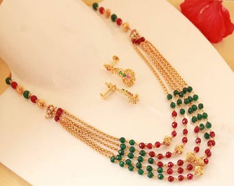 Multi Layer Indian Necklace with Red and Green Beads