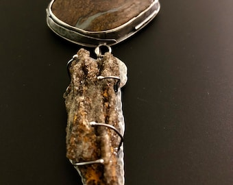Bronzite and Fossil Pendant Necklace