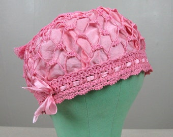 Vintage 1920s Sleeping Cap 20s Pink Cotton Crochet and Silk Hat