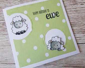Handmade Sheep birthday card/ Happy birthday to ewe