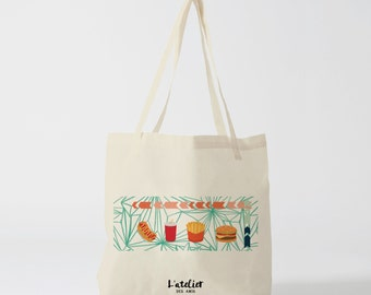 Tote bag Fast & Food, tote bag cotton tote shopping bags bags run, diaper bags, bag burger and fries, graphic, to give bag