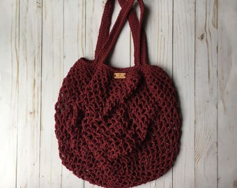 Market Bag in Burgundy - summer beach bag - crochet beach bag - eco-friendly bag - reusable bag - crochet shoulder bag - farmers market