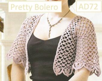 Instant Download - PDF- Lovely Bolero Crochet Pattern (AD72)
