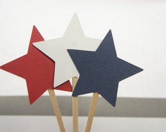 Patriotic Cupcake Toppers, Red, White, Blue, Stars, 4th of July, Party Picks, Food Picks set of 12
