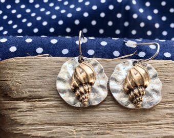 Silver with Gold Conch shell earrings