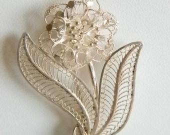 Cannetille Sterling Silver Flower Pin Brooch