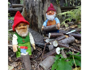 Mini Photographic Art Print, Logger Gnomes