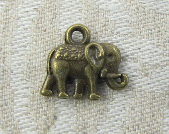 1 or 12, Elephant, Elephant Charm, Indian Elephant, Jungle Animals, Animal Charms, Bronze Elephant, Elephant Pendant, ANM002BZ