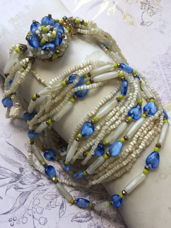 Vintage Original by Robert Blue Glass Bead Multistrand Necklace, Estate Jewelry