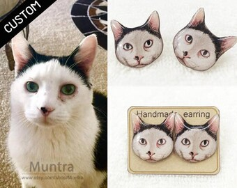 CUSTOM PET EARRINGS - Pet Stud Earrings Resin Custom Pet Earrings Cat Dog Animal Custom Earrings Pet Custom Jewelry Gift Idea Cat Jewelry
