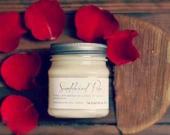 Sandalwood Rose Mason Jar Soy Candle | Gift Ready | Phthalate Free | Hostess Anniversary Gift