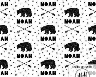 Bears & Arrows Personalized Fabric / Custom Name Fabric / Scandinavian Fabric Design / Boys Customized Print by the Yard and Fat Quarter