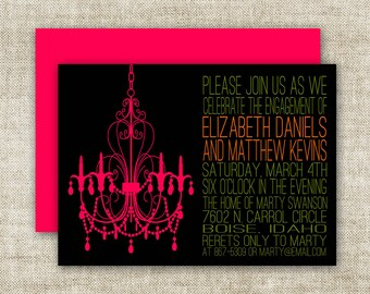 Chandelier BRIDAL SHOWER INVITATIONS In Pink And Black Custom Digital Printable Cards - 90576241