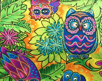 Cotton quilting print Fabri Quilt Inc Neon Forest Owl fabric