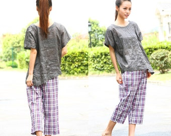Ethnic Style Asymmetrical Linen Blouse with Accordion Folds/ 18 Colors/ RAMIES
