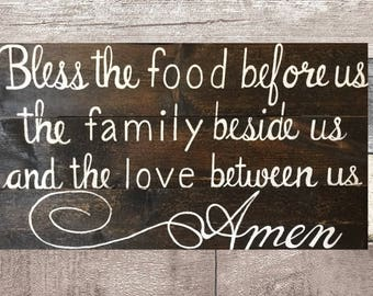 Bless the food before us- wooden sign for the home, hand painted sign, pallet sign, sign for dining room, wood sign, signs with sayings