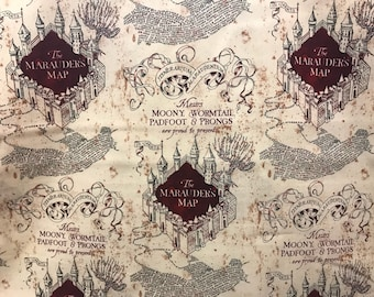Harry Potter The Marauder's Map fabric, Moony, Wormtail, Padfoot & Prongs, book fabric, cotton fabric, J.K. Rowling, licensed fabric