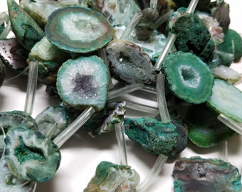 Emerald Green Agate Druzy  Briolette Beads 26mm to 30mm