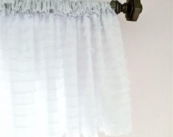 White Ruffled Curtain Valance- White Ruffle Window Treatment, Baby Girls Nursery- White Valance- White Ruffle Valance, Kitchen Valance