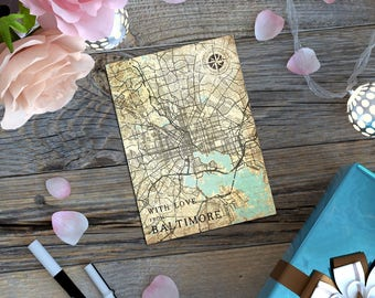BALTIMORE MD Gift Card Postcard Maryland Md Baltimore Vintage map Retro Post Card Thank you Note Card Greeting Card Gift Tiny Print Wall Art
