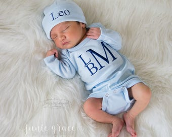 Baby Boy Coming Home Outfit Baby Boy Clothes Baby Boy Gift Newborn Boy Coming Home Outfit Newborn Hat Take Home Outfit Newborn Outfit