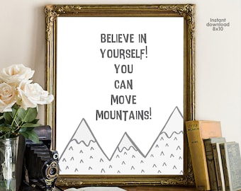 believe in yourself! you can move mountains, floral office decor typography inspirational wall decor, Motivational Wall Art