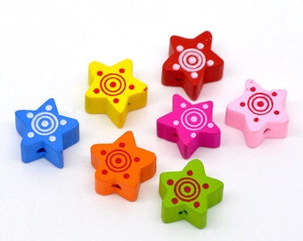 Wooden stars - multicolored - 8 large beads 15 x 15 mm