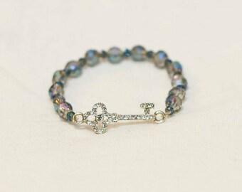 Silver key bracelet, silver key charm, key charm bracelet, key charm jewelry, gift for her, anniversary present, silver key, crystal key