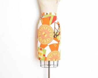 vintage 90s skirt, scarf print skirt, high waisted skirt, pencil skirt, nautical print, 90s clothing, white orange, cotton skirt, L XL