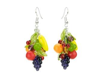 Retro Fruit Earrings - Quirky Carmen Miranda bunch, Kitsch 1950's Rockabilly, Pin-up & Burlesque, Vintage glass beads, Caribbean Dangle